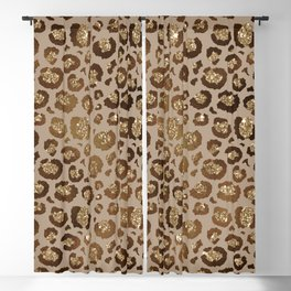 Brown Glitter Leopard Print Pattern Blackout Curtain