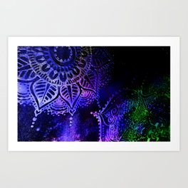Henna Mehndi Mandalas Green Purple Magenta Blue Black Art Print