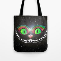 cheshire cat Tote Bags featuring Cheshire Cat by Luna Portnoi