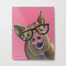 Pink Pig Painting, Cute Farm Animal Metal Print