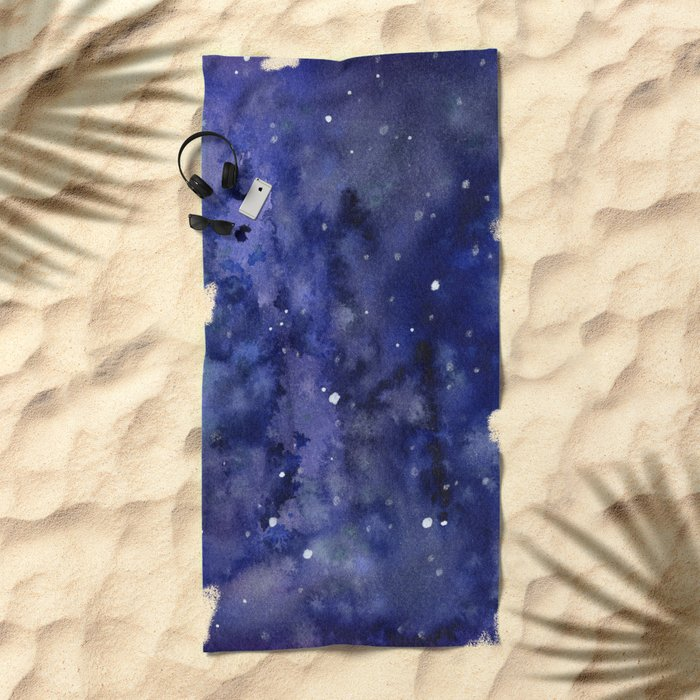 Night Sky Galaxy Nebula Stars Watercolor Space Texture Beach Towel