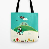 the fault Tote Bags featuring The Fault In Our Stars by Risa Rodil