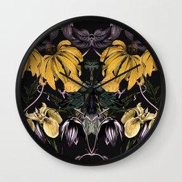 Nocturnal botanical garden kaleidoscope Wall Clock