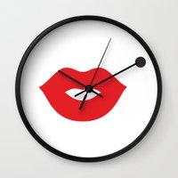 marylin monroe Wall Clocks featuring Minimal Monroe by cat&wolf