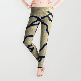 Rose Nautical Navy Blue on Linen Leggings