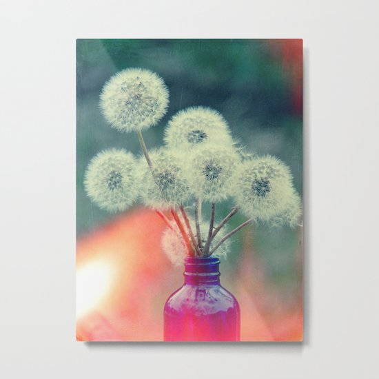 Dandelion Bouquet Lomo SQ Too Whimsical Boho Botanical Nature  Metal Print
