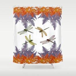 DRAGONFLIES & PURPLE-BROWN WOODLAND FERNS  ABSTRACT Shower Curtain
