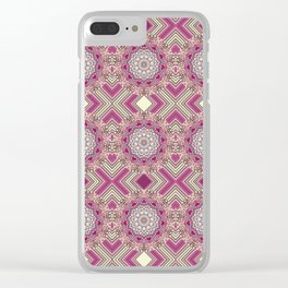 Pink Psychedelic Glued Mandalas 7 Clear iPhone Case