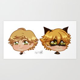 Chibi Adrien and Chat Noir Art Print