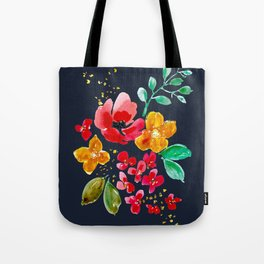 Red Poppy on Deep Navy Tote Bag