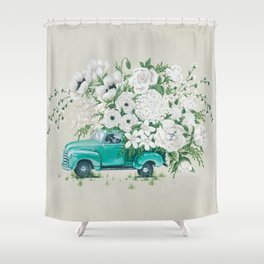 Truck with White Flowers Shower Curtain