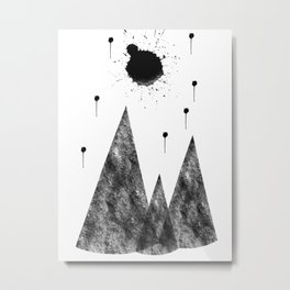 Full Moon and Stars high above the Mountains Abstract Metal Print