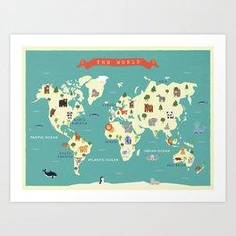 Map of the world art prints society6 animals world map art print gumiabroncs Choice Image