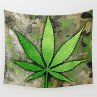 weed Wall Tapestries featuring Weed Leaf by Spooky Dooky