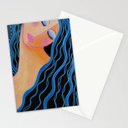 Shiny Black Hair Abstract Digital Painting Stationery Cards