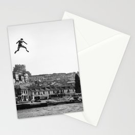 man jump from bridge Stationery Cards