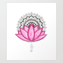 Pink Lotus Mandala Art Print