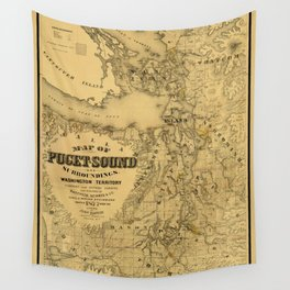 Map of Puget Sound 1877 Wall Tapestry
