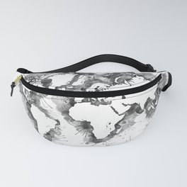 Watercolor splatters world map in grayscale Fanny Pack