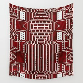 Red Geek Motherboard Circuit Pattern Wall Tapestry