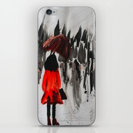 The Girl In The Red Rain Coat (Part 3)  Fine Art Acrylic Painting iPhone Skin