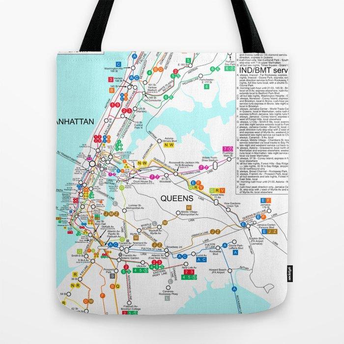 New York Subway Map 2100.New York City Metro Subway Map Tote Bag