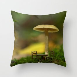 Mushroom With Tiny Table & Chairs... Throw Pillow
