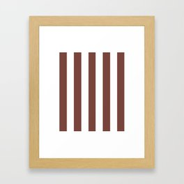 Bole brown - solid color - white vertical lines pattern Framed Art Print