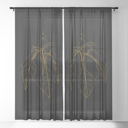 Gold Philodendron Joepii Sheer Curtain