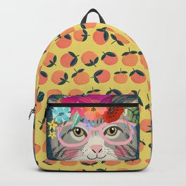 Cute Grey Cat with Glasses Backpack Backpack