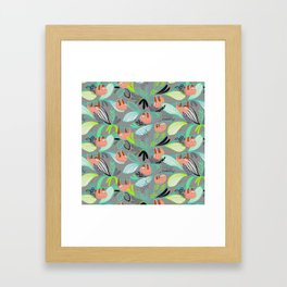 Bright jungle sloths Framed Art Print