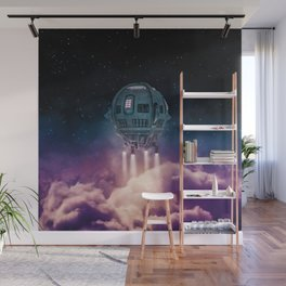 Out of the atmosphere / 3D render of spaceship rising above clouds Wall Mural