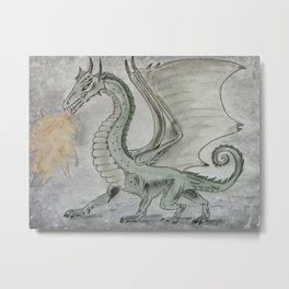 Fire Breathing Dragon Metal Print