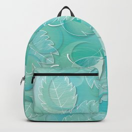 Floating Leaves Pattern IV - Winter, Ice Teal Backpack
