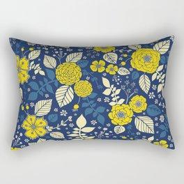 Yellow & Blue Floral Pattern Rectangular Pillow