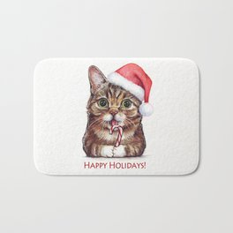 Cat in Santa Hat with Candy Cane Funny Christmas Animal Bath Mat