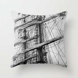 Sailing Ship black and white photo 2 Throw Pillow