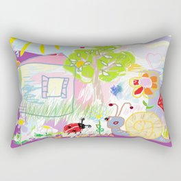 My happy world Doodle for children room Nursery home decor Rectangular Pillow