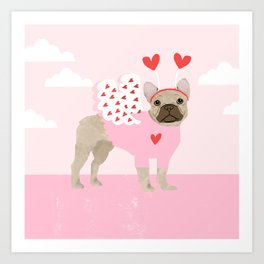 French Bulldog love bug cute valentines day dog breed gifts for dog lover frenchie Art Print
