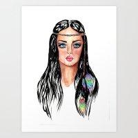 hippie Art Prints featuring hippie by knutsius