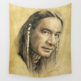 Cloud Dancing - portrait drawing Wall Tapestry