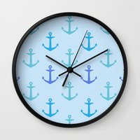 anchors Wall Clocks featuring Anchors by wensays