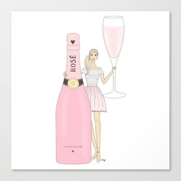 Rose Champagne Fashion Girl Blonde Canvas Print
