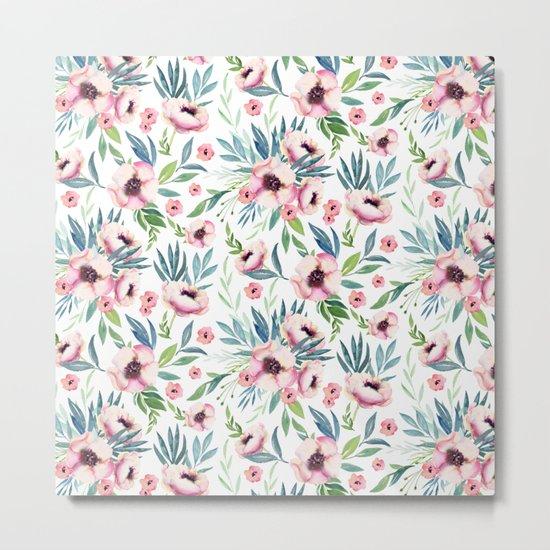 Flowers in Bloom Pattern Metal Print