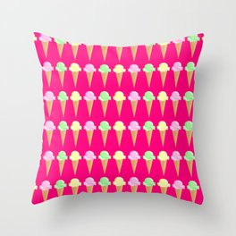 Vanilla, Mint, and Strawberry Ice Cream Cone Pattern Magenta Background Throw Pillow