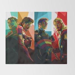 WPAP Avenger - Iron Man, Cap America, Thor, Black Widow, Hulk, Nick, Clint Throw Blanket