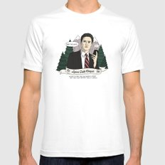 Twin Peaks (David Lynch) Agent Dale Cooper MEDIUM White Mens Fitted Tee