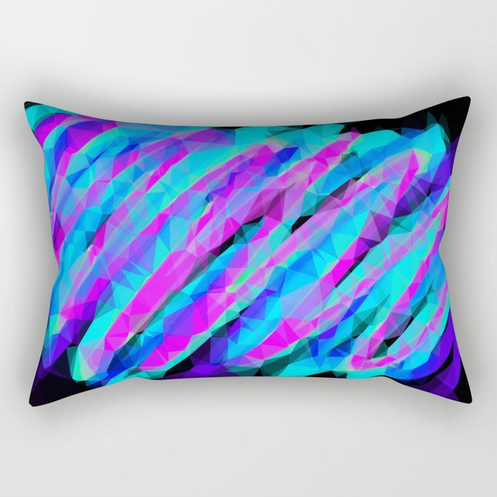 psychedelic geometric polygon abstract in pink blue with black background Rectangular Pillow