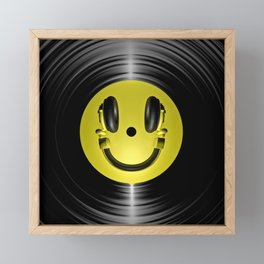 Vinyl headphone smiley Framed Mini Art Print