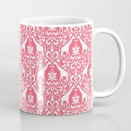 Giraffe Damask Coral Coffee Mug